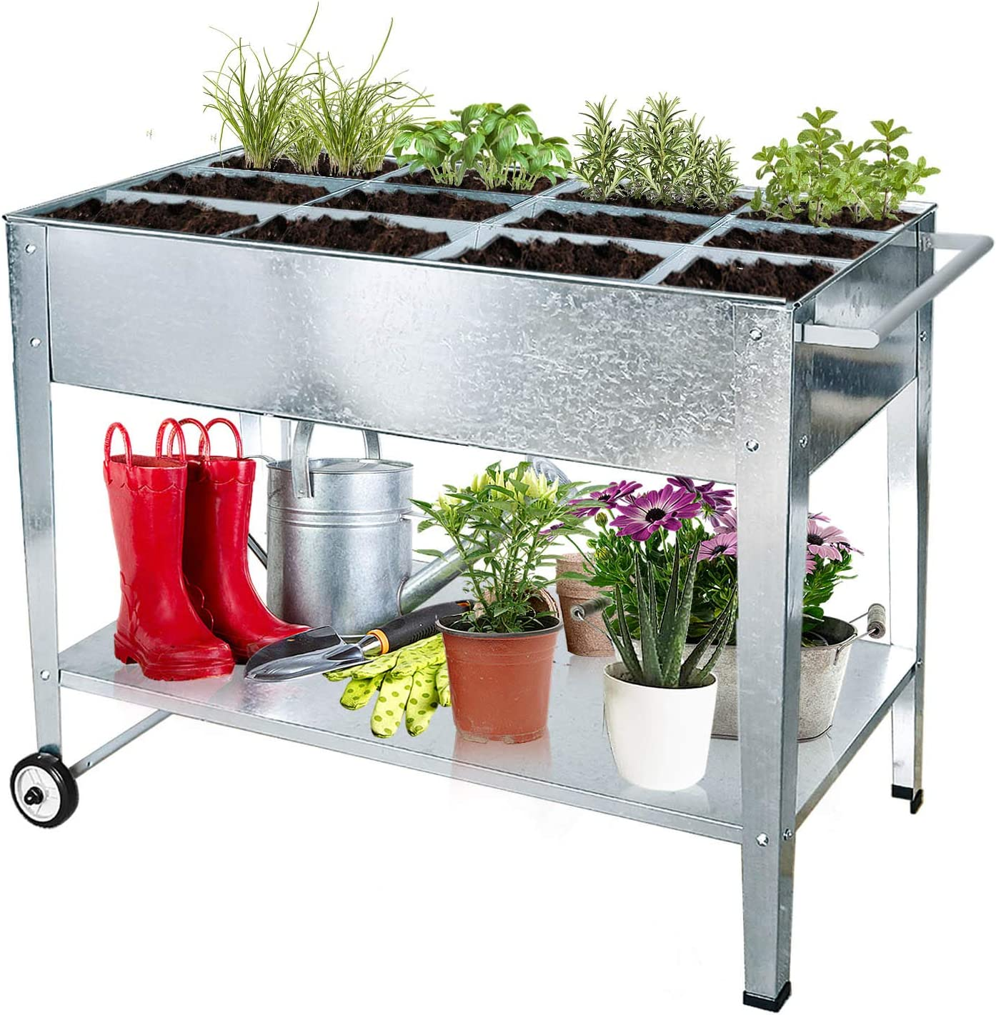 FOYUEE Galvanized Raised Garden Bed Outdoor Herb Apartment Gardening Above Ground Planter Boxes with Legs Portable Elevated Deck Outdoor Home Balcony