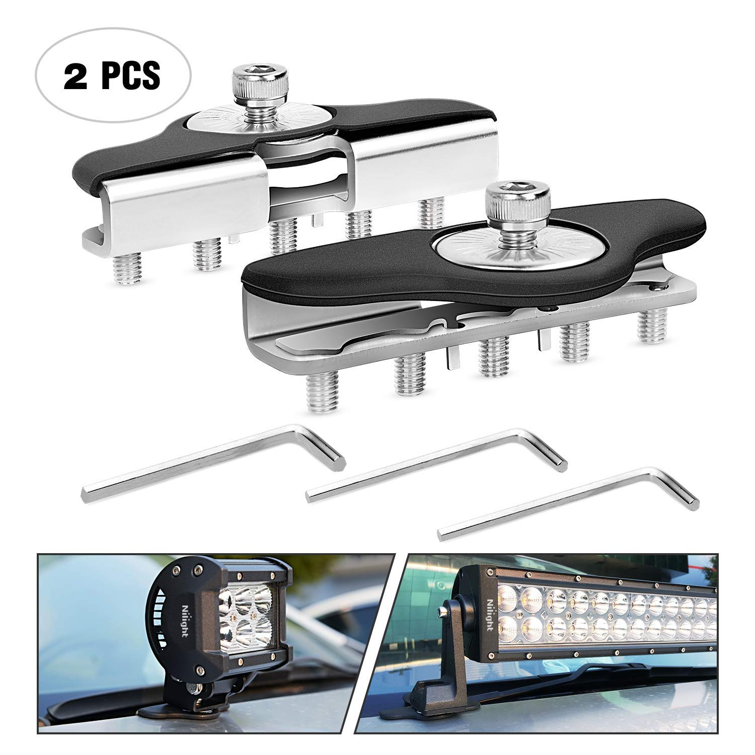 Nilight 90025B Led Light Bar Mounting Brackets 2pcs Universal Hood Led Work Light led Pods Mount Bracket Clamp Holder for SUV Truck Off Road Installed No Need Drilling, 2 Years Warranty
