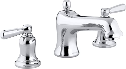 Bancroft Bath Faucet Trim for Deck-Mount High-Flow Valve with Non-Diverter Spout and White Ceramic Lever Handles, Valve Not Included, Polished Chrome