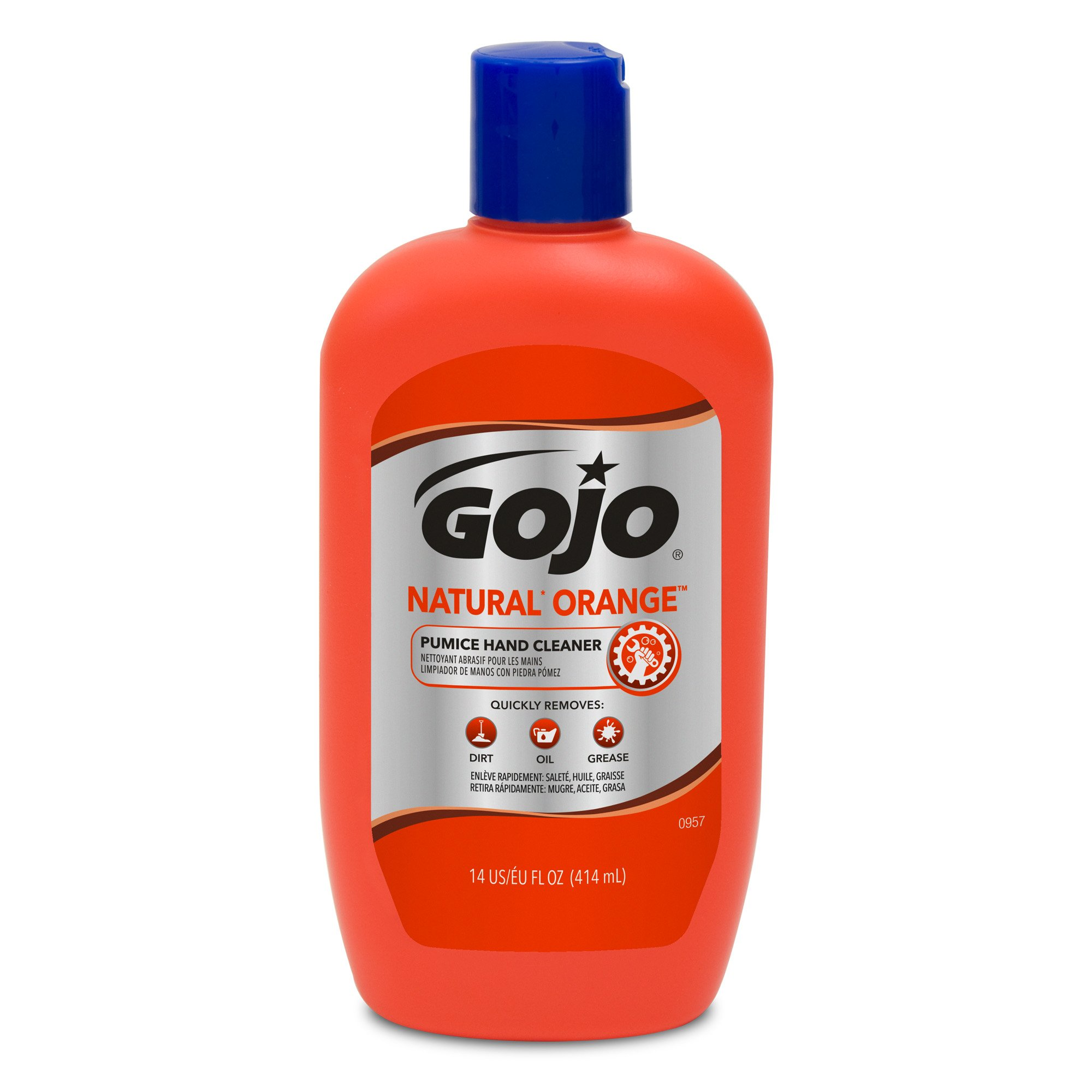 GOJO NATURAL ORANGE Pumice Hand Cleaner, 14 fl oz Quick-Acting Lotion Hand Cleaner Flip Cap Squeeze Bottles (Case of 12) - 0957-12 by Gojo (Image #2)