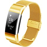 Hanlesi Fitbit Charge 2 Band Business Luxury Milanese Stainless Steel Bracelet Fitness Accessory Replace Wrist Bands Loop Straps Clasp for Fitbit Charge2 Fashion
