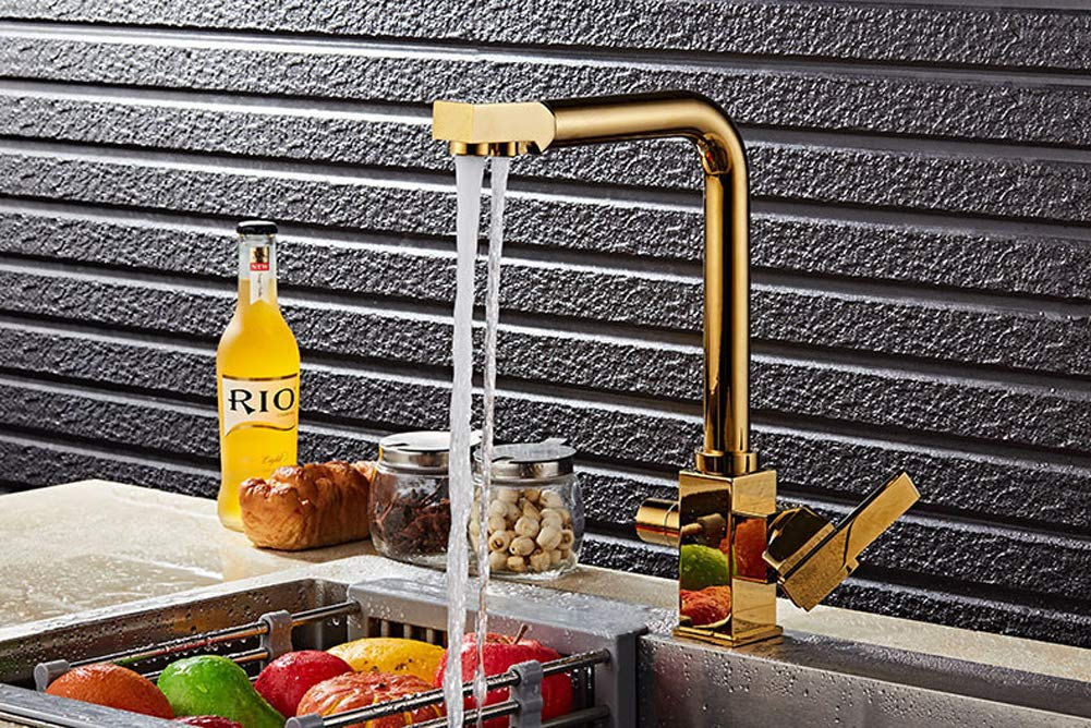 3 Way Gold Kitchen Sink Faucet Pure Drinking Water Filter Tap Purifier Brass Mixer Tap Bathroom Faucet (gold)