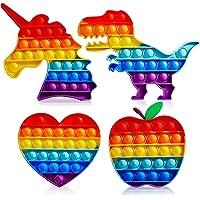 Abesee 4 Pack Rainbow Pop Fidget Toys, Its Poppers Bubble with Pop Sound Sensory Fidget Toy Tie Dye Unicorn Dinosaur for…