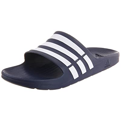 adidas Duramo Slide Sandal, New Navy/White/New Navy, 6 M US Women's/4 M US Men's | Sport Sandals & Slides