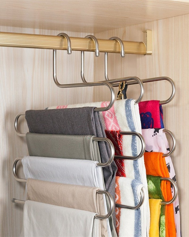 comingfit S-Shape Multi-Purpose Stainless Steel Magic 5 Layer Pants Hangers Closet Hangers Space Saver Storage Rack for Hanging Jeans Scarf Tie 3 Pack