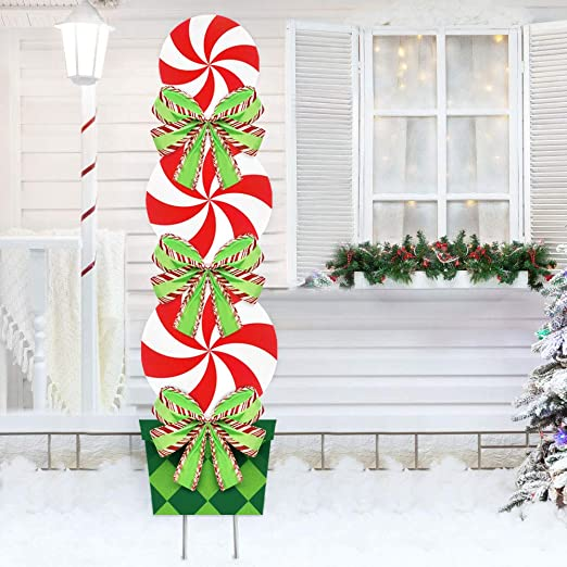 Oriental Cherry Candy Christmas Decorations Outdoor 44in Peppermint Xmas Yard Stakes Giant Holiday Decor Signs For Home Lawn Pathway Walkway Candyland Themed Party Red White Green Amazon Co Uk Garden