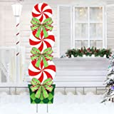 ORIENTAL CHERRY Candy Christmas Decorations Outdoor - 44In Peppermint Xmas Yard Stakes - Giant Holiday Decor Signs for Home L