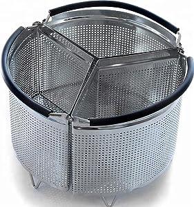 Steamer Basket for 8 Quart Pressure Cooker: Instant Pot Instapot Fagor Yedi Crock-Pot Aroma – Triangle 3 Pcs Divider, Stainless Steel 304 (8 Qt)