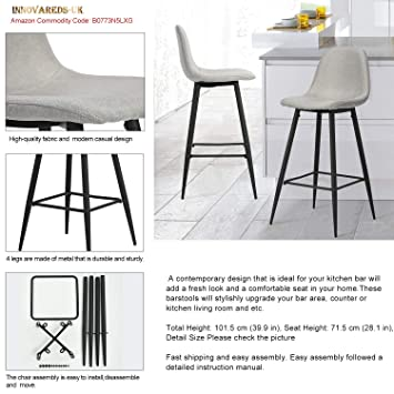 Sensational Innovareds Dining Bar Stool Set Of 2 High Back Modern Metal Frame With Footrest Fabric Light Grey Gmtry Best Dining Table And Chair Ideas Images Gmtryco