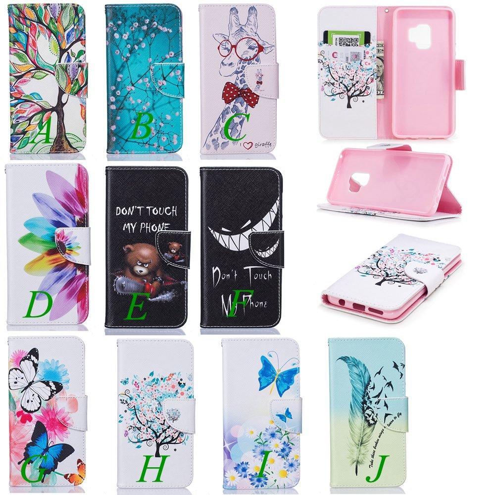 Wholesale 100pcs/lot Bear Butterfly Multi-patterns Flip Leather Case for Samsung Galaxy S9/S9 Plus/S8/S8 Plus/S7/S7E/S6/S5 etc (Multi-Color) by Vfunn (Image #1)