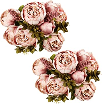 2 Stunning Large Pink Faux Peonies Artificial Luxury Realistic Peony Silk Flower