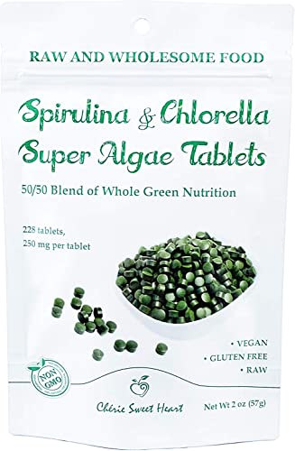 Spirulina Chlorella 50 50 Blend, 228 Tablets, Non-GMO, Vegan Friendly by Ch rie Sweet Heart