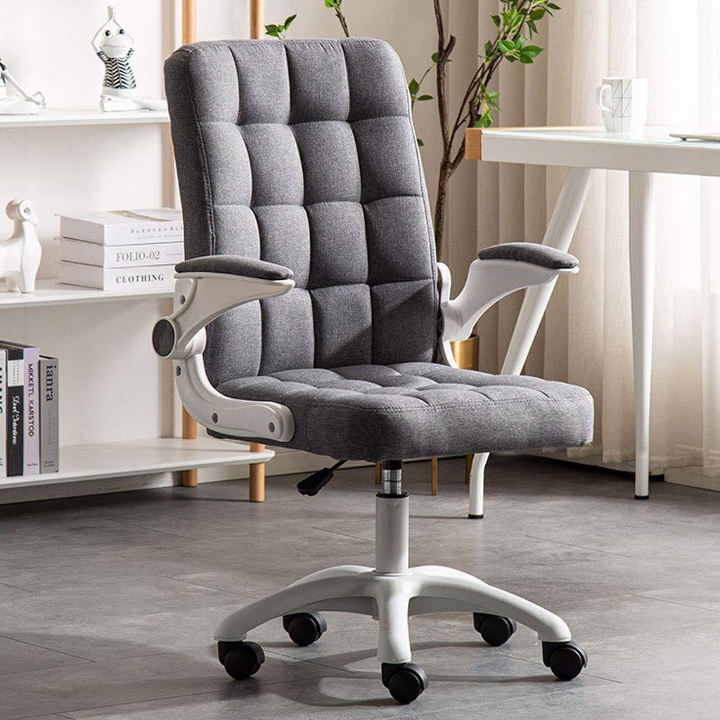 Svängbar stol konferensrum uppgift skrivbord stolar hem kontor stol med linne tyg motståndskraft svamp justerbar höjd flip-up armar 360 ° rotation, svart, 46 x 46 x 102 cm Grå