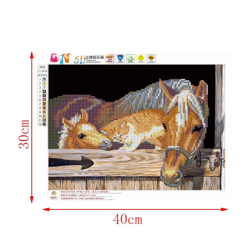 Lulujan DIY 5D Horse Diamond Painting Kit Crystal Animal Embroidery Cross Stitch Educational Toy Home Wall Decor