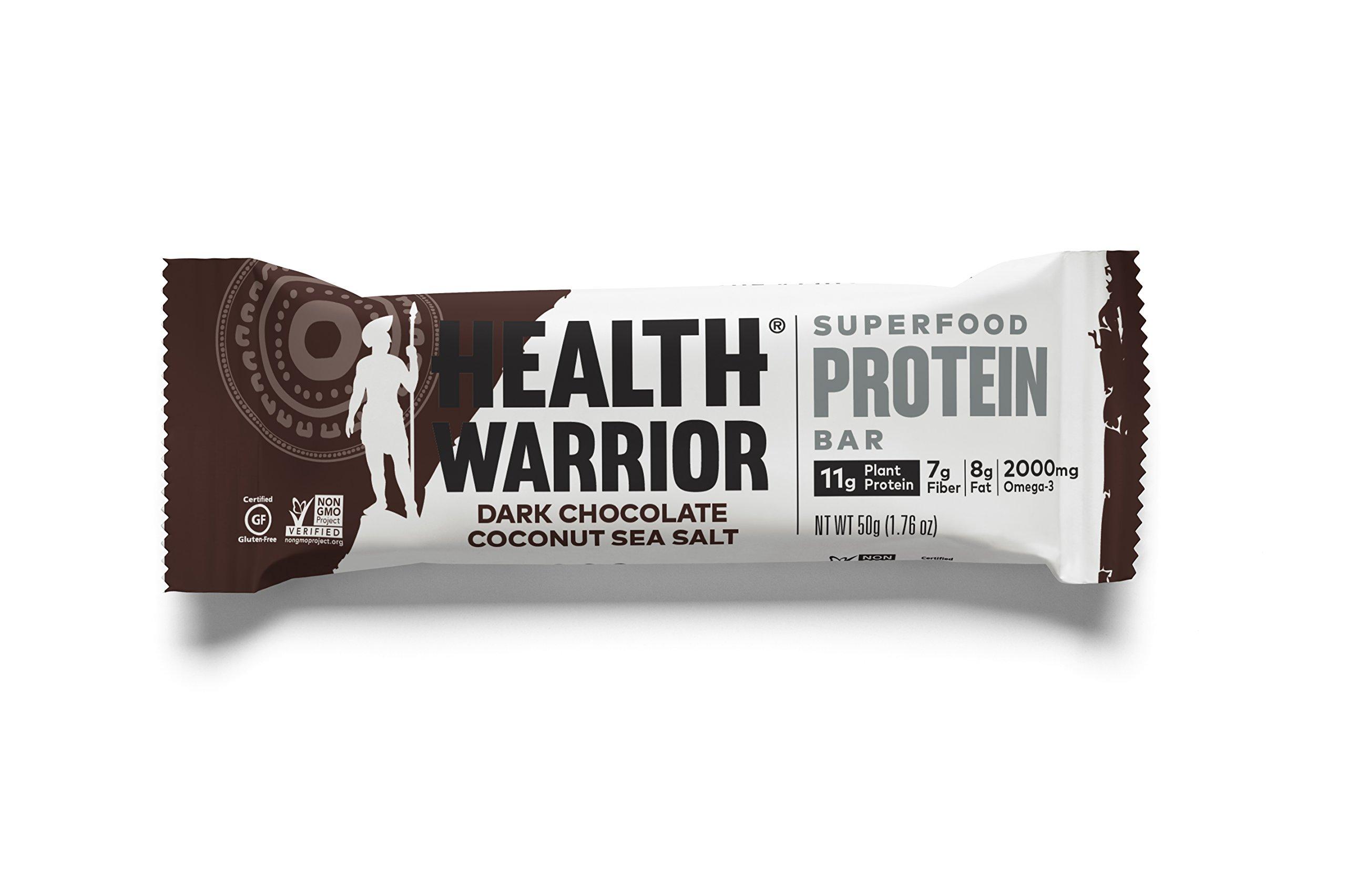 HEALTH WARRIOR Superfood Protein Bars, Dark Chocolate Coconut Sea Salt, Plant-Based Protein, 50g bars, 12 count