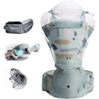 Bebamour Fordable Mesh Baby Carrier Front and Back Carry Baby Newborns to Toddler Baby Hip Carrier with Head Hood & 3…