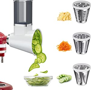 BANKKY Slicer Shredder Attachment for KitchenAid Stand Mixer, Electric Cheese Grater Attachment Accessories for KitchenAid with 3 Blades, Salad Shooter Dishwasher Safe (White)