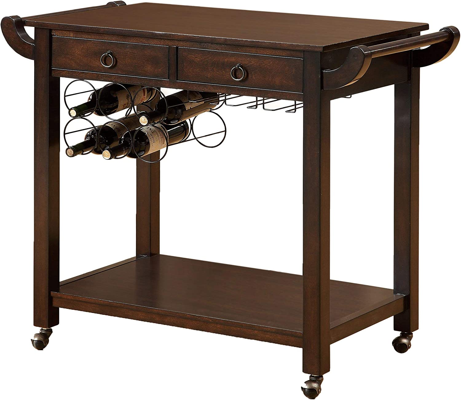 Furniture of America Bettise Mobile 2-Drawer Kitchen Cart with Wine and Glass Storage, Dark Walnut