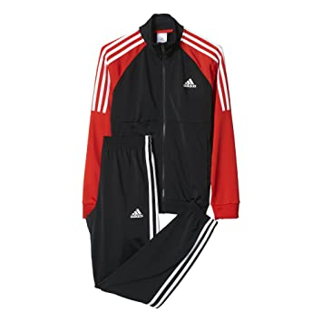 Junior Boys adidas Tiberio Tracksuit In Black Red