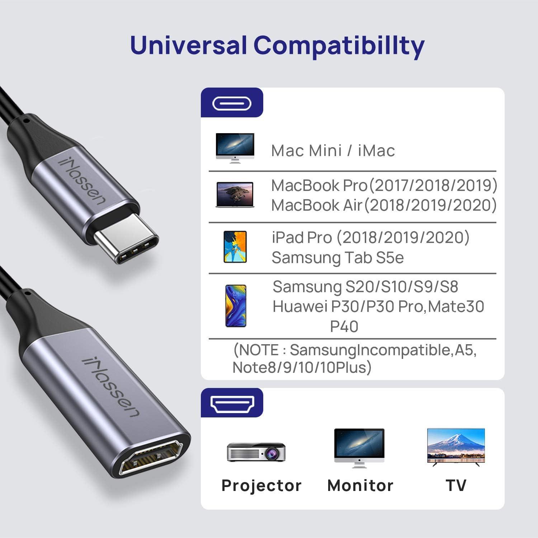 Salida de Audio y Video para MacBook Pro 2018//2017//2016 Compatible con Thunderbolt 3 Adaptador HDMI Tipo C a 4K, iNassen Adaptador USB C a HDMI Pad Pro,Huawei Mate 20 y m/ás MacBook Air Samsung