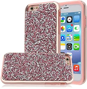 AlphaCell Cover Compatible with iPhone 6 Plus / 6S Plus (Only), Heavy Duty Rhinestone Sparkly Bling Dazzle Diamond Case [Durable TPU Rubber] Twinkling Stylish Design with Shiny Glitter | Rose Gold