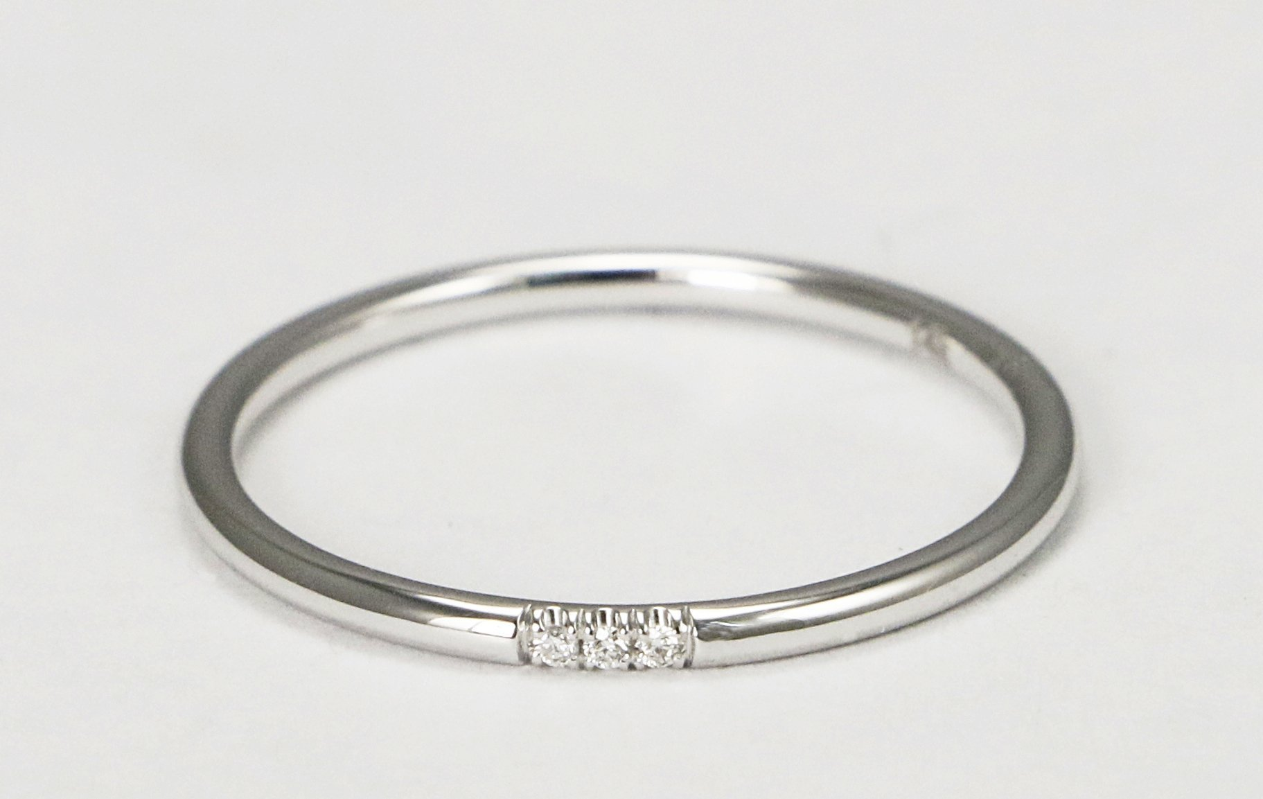 14k White Gold Diamond Wedding Band, Diamond Stacking Ring