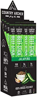 product image for Jalapeno Beef Sticks by Country Archer, 100% Grass-Fed, Certified Keto, Paleo, Gluten Free, 1 Ounce (Pack of 24)