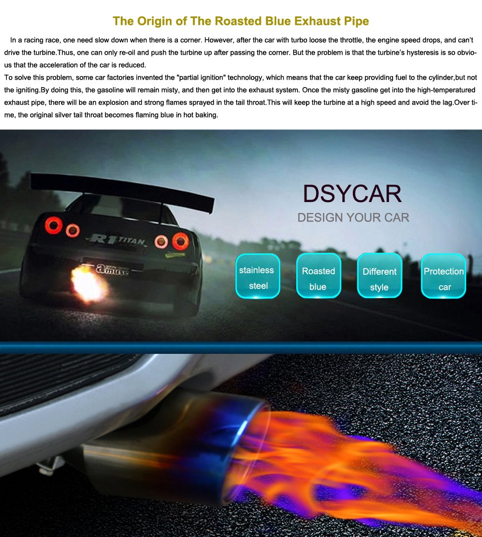 Free 4 Valve Stem Caps Color Roasted Blue DSYCAR Universal 1 To 2 Stainless Steel Car Exhaust Tail Muffler Tip Pipes