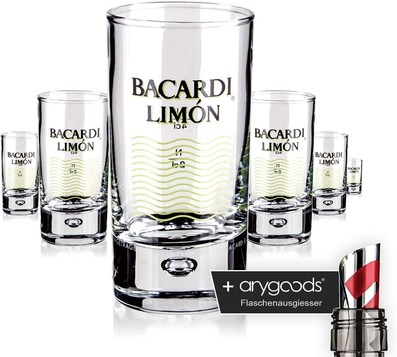 Anygoods - Juego de 6 vasos de chupito de cristal de ron, con ...