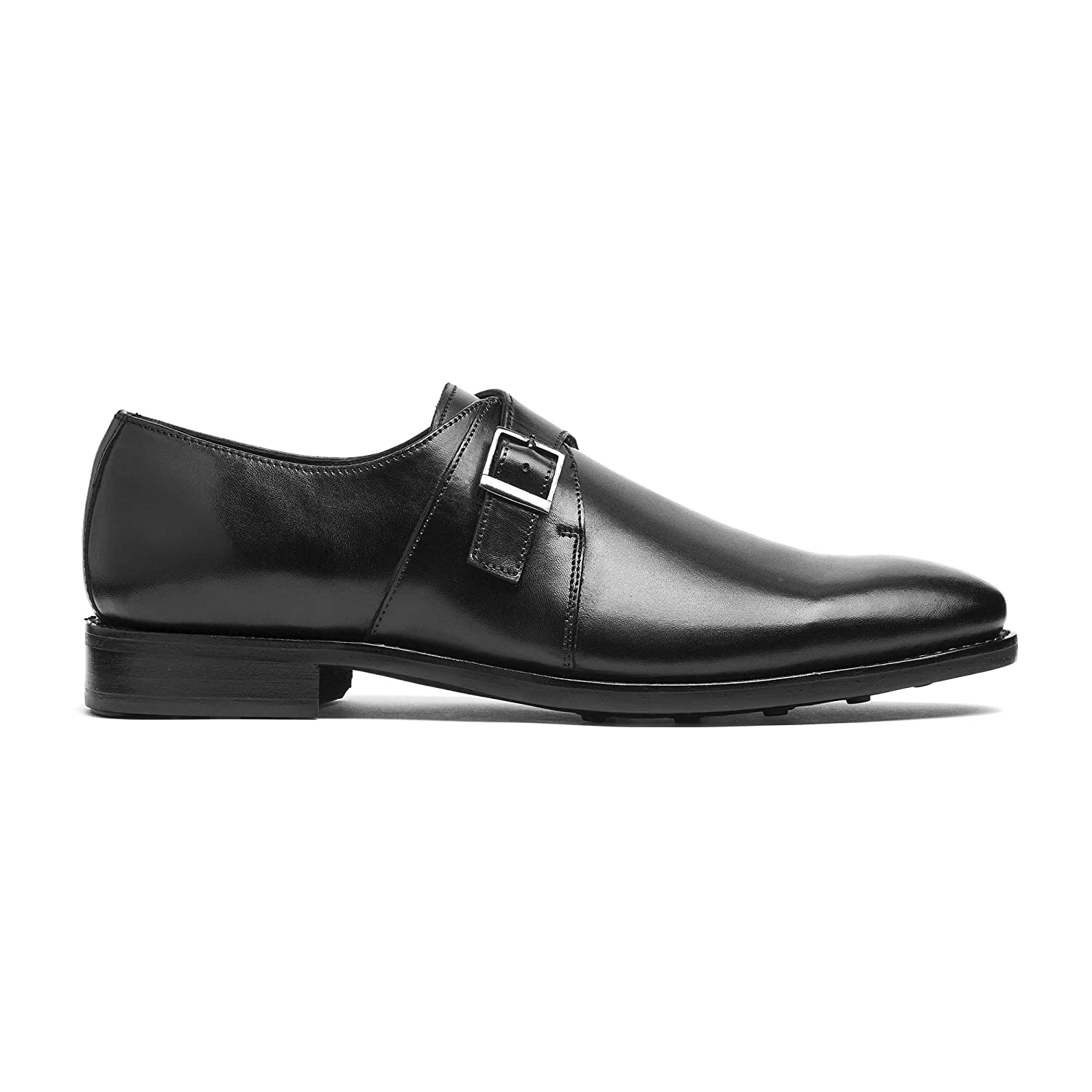 ca1615e36b1 Timberlux New York Black Single Monk Strap Men's Dress Shoes Welted Leather  7-14