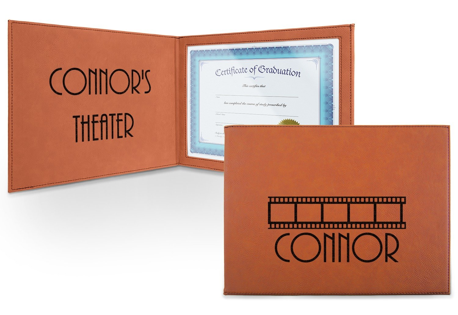 Movie Theater Leatherette Certificate Holder - Front and Inside (Personalized)
