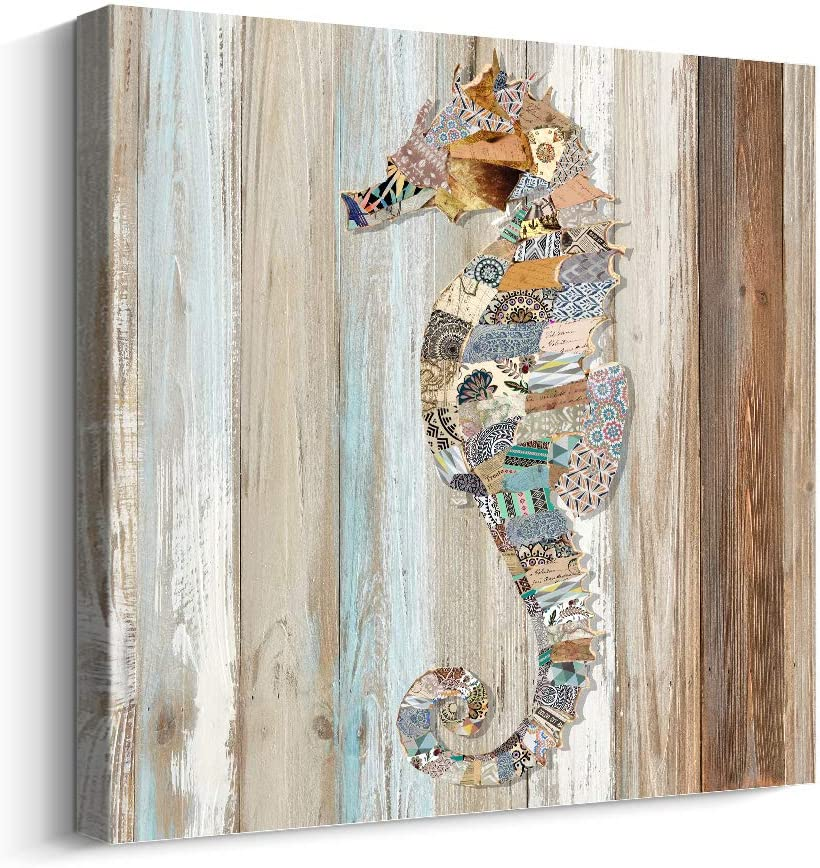 Pi Art Canvas Print Abstract Colorful Sea Horse on Wood Wall Art Contemporary Wall Decor (24x24 inch,Seahorse)