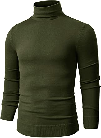 COOFANDY Mens Casual Slim Fit Turtleneck T Shirts Lightweight Basic Tops