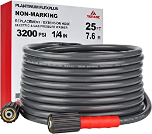 "YAMATIC Flex+ Improve 3200PSI X 25FT Pressure Washer Hose Fit Most Gas Power Washer Hose M22 x 1/4"" ProWash Version2.0"