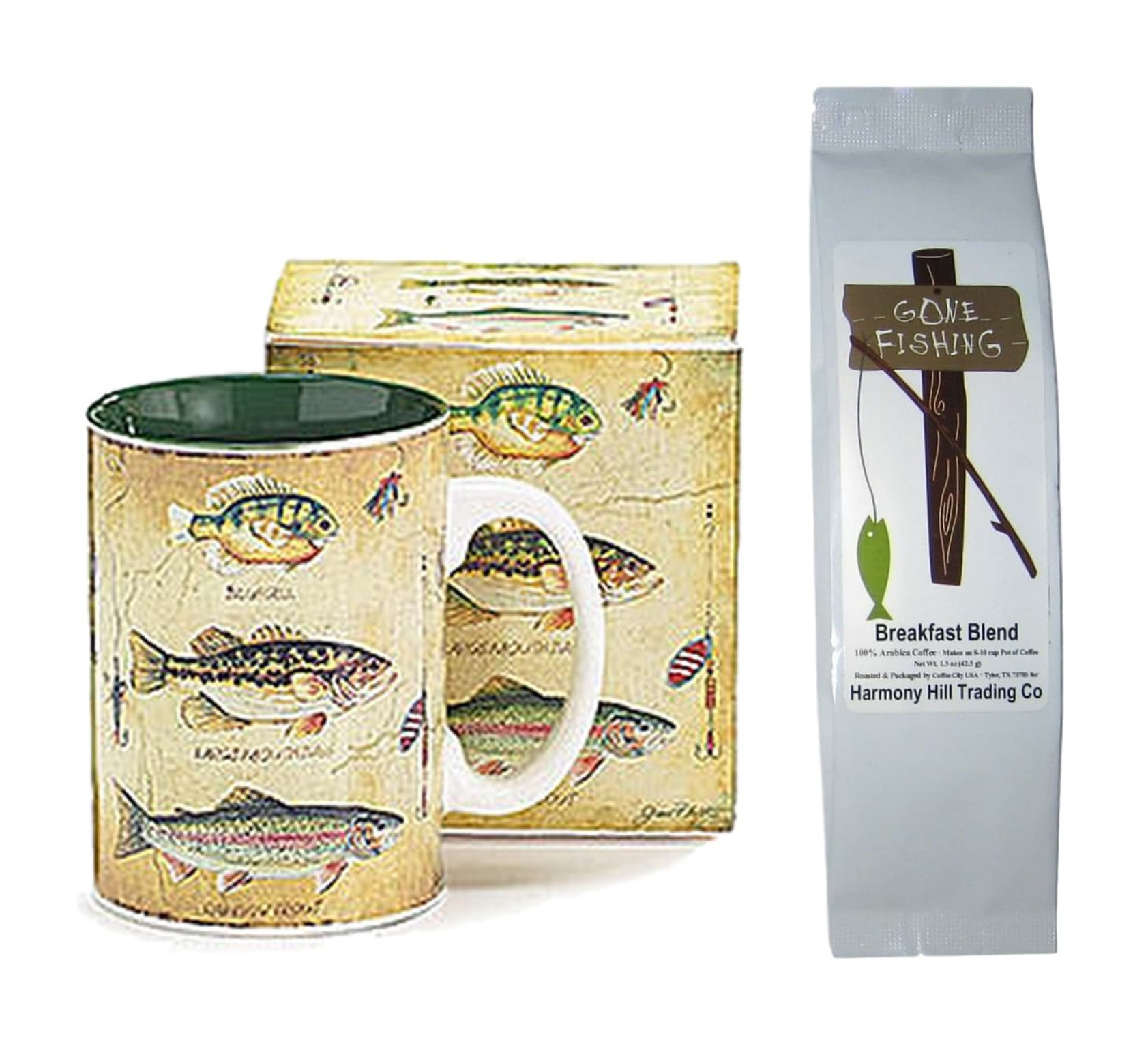Bluegill Bass Trout Fish Lures Coffee Mug with Box and Gone Fishing Coffee Gift Set Bundle (2 Items)