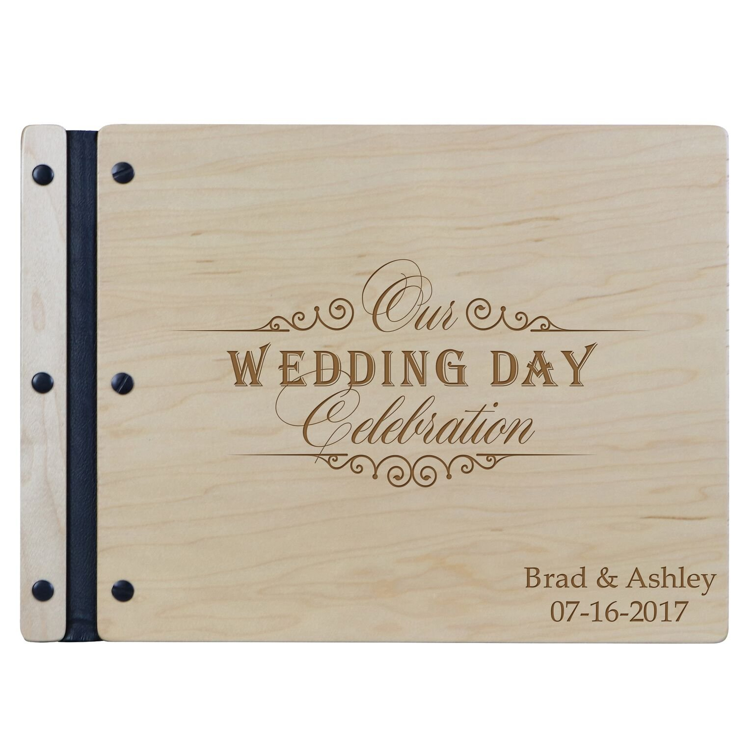 """LifeSong Milestones Personalized Mr and Mrs. Wedding Anniversary Guest Book Registry for Bride and Groom Newlywed Couple Custom Engraved Cherry wood 13.5'' x10"""" by (Wedding Celebration)"""