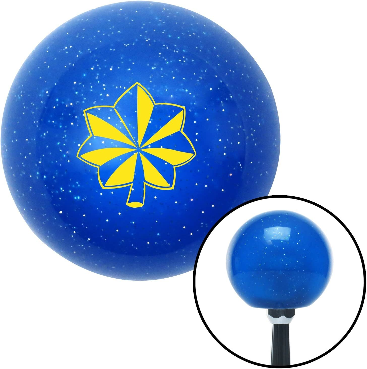 American Shifter 26007 Blue Metal Flake Shift Knob Yellow Officer 04 and 05