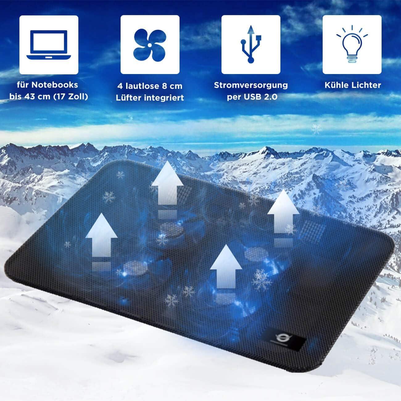 Notebook Cooling Pad f/ür Acer Swift 3 Conceptronic Laptop K/ühler Halterung Cooler St/änder 2 L/üftern Schwarz