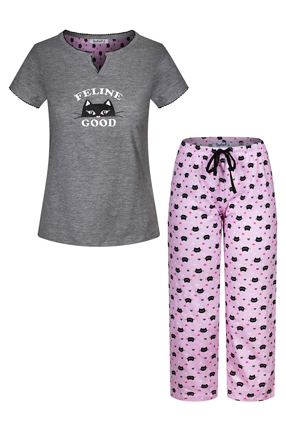 Charcoal Pink Kitten SofiePJ Women's Embroidery Pure Cotton Sleepwear Capri Set