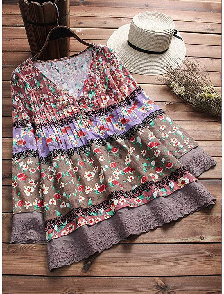 Womens Plus Size Clothes Vintage Cotton Linen Floral Print Blouse Casual Loose Long Sleeve Tunic Top Pockets M-5XL