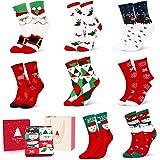 Calcetines de Navidad, 8 Pares Calcetines de Algodón de Navidad de invierno Calcetines Térmicos de Navidad Calcetines…