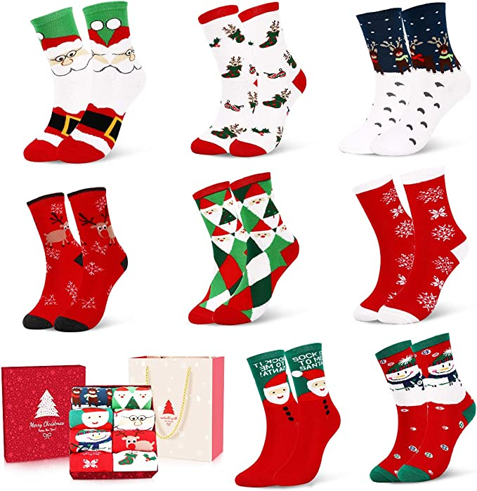 12 Paare Damen Weihnachtssocken Weihnachten Socken Baumwolle Weich Bequem Neu DE