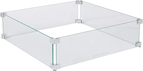 Fire Sense Fire Pit Wind Guard | Square | Clear Glass | 22.5 Inches | Tempered Glass | For Propane