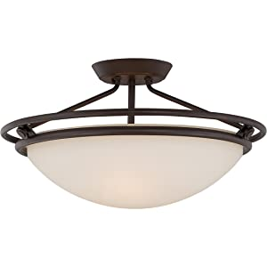"Quoizel QF1202SWT Bowl Semi-Flush Ceiling Lighting, 3-Light, 300 Watts, Western Bronze (11"" H x 20"" W)"