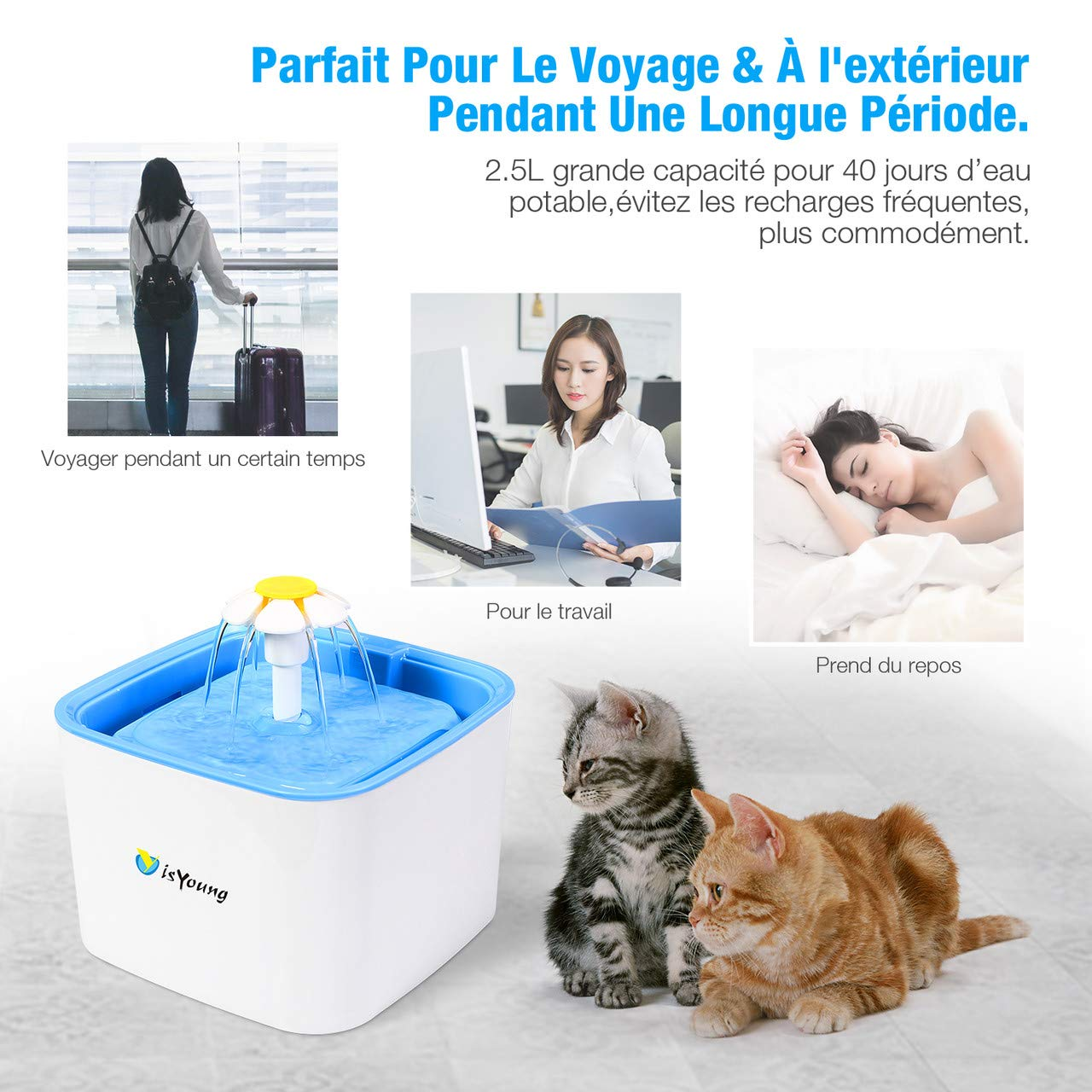 isYoung Fuente de Agua Fuente de Gato Beber de Flor eléctrico Animales Verde Pet Water Fountain Drinking Bowl: Amazon.es: Productos para mascotas