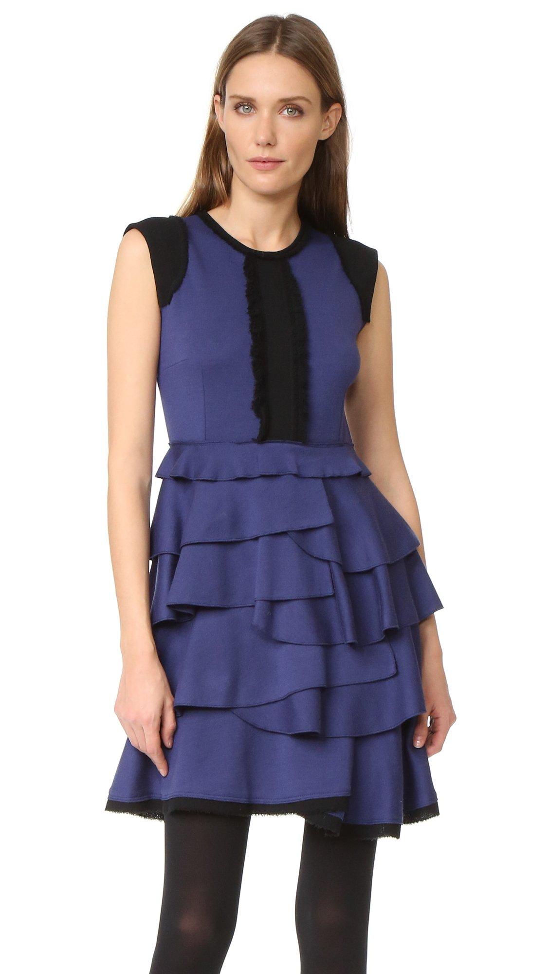 Amelia Toro Women's Sleeveless Ruffle Dress, Blue/Black, 8