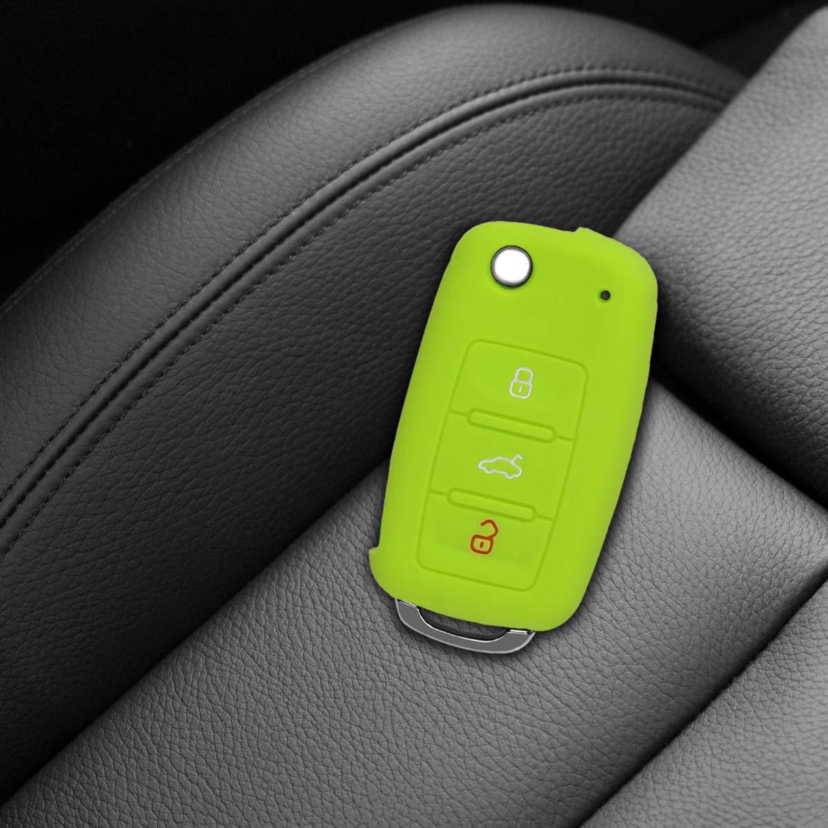 kwmobile Autoschl/üssel H/ülle f/ür VW Skoda Seat Silikon Schutzh/ülle Schl/üsselh/ülle Cover f/ür VW Skoda Seat 3-Tasten Autoschl/üssel Grau