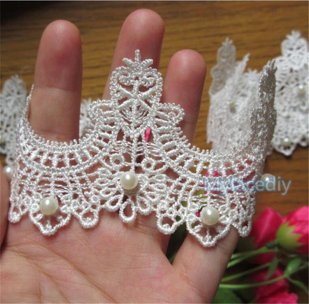 2 Meters Pearl Lace Edge Trim Ribbon 6 cm Width Vintage Style Off White Edging Trimmings Fabric Embroidered Applique Sewing Craft Wedding Bridal Dress Embellishment DIY Party Decor Clothes Embroidery Qiuda