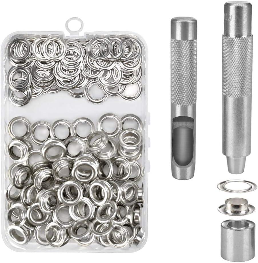 100Pcs Ojetes Metalicos Ojales Metalicos Kit de Herramienta de Ojetes 12mm con Caja de Almacenamiento para Toldos Lona Ropa Cortinas Manualidades Bricolaje