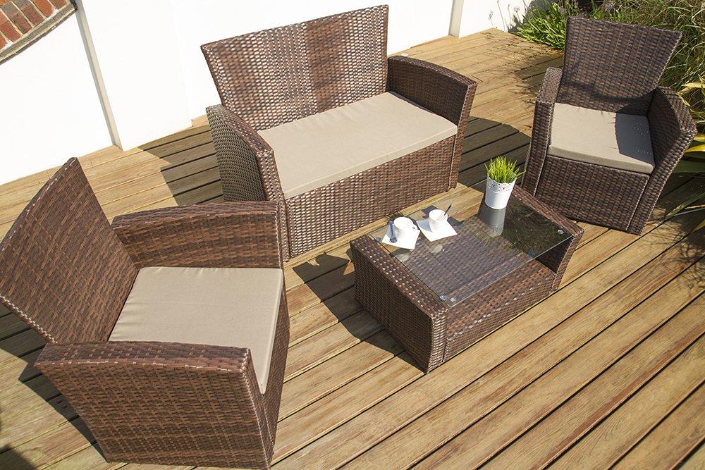 Port Royal Classic - Juego de sillones de mimbre (4 plazas ...
